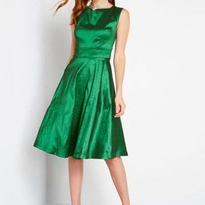 Modcloth Green Fantastic Satin Fit and Flare Dress